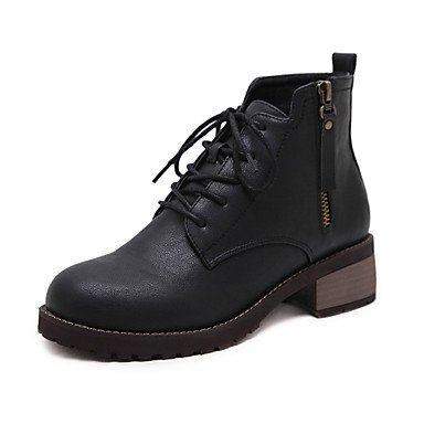 Up Toe Boots Fall Ankle Boots 5 5 Pointed Combat Low Pu Boots Bootie US7 Boots Comfort RTRY Booties UK5 Lace Heel Shoes Fashion Women'S Novelty For EU38 Winter CN38 wa7Zxt1Uq