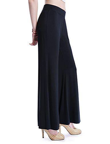 David Archy Women's Bamboo Fiber Comfy Palazzo Lounge Pant(L,Black)