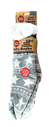 Unbekannt (3037G) Damen Soft-Socken mit Sternen, Kuschelsocken mit Teddy-Futter, super weiche Bettsocke, Hüttensocke, Wintersocke, ABS-Sohle, Sternen-Motiv, hellgrau
