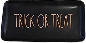 "Rae Dunn Halloween TRICK OR TREAT Serving Platter Tray (Black with Orange Letters) - 14 1/2"" x 7"" x 1 1/2"""