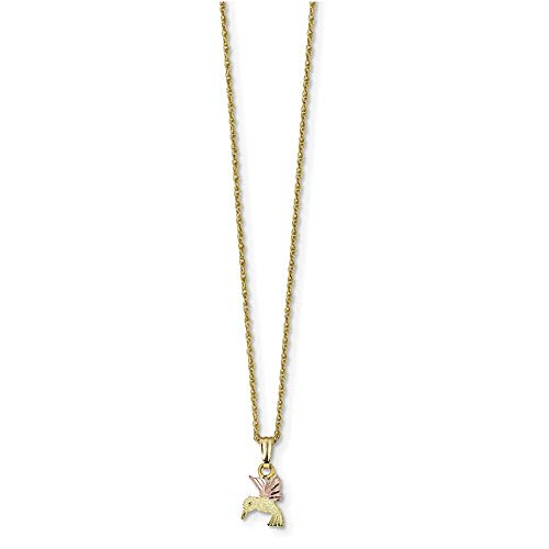 Lex & Lu 10k Tri-Color Black Hills Gold Hummingbird Necklace-Prime