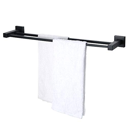 SAYAYO Double Towel Bar, 24-Inch Stainless Steel Towel Rack Bathroom Towel Holder Wall Mounted, Matte Black, AB6000GZ-FBA