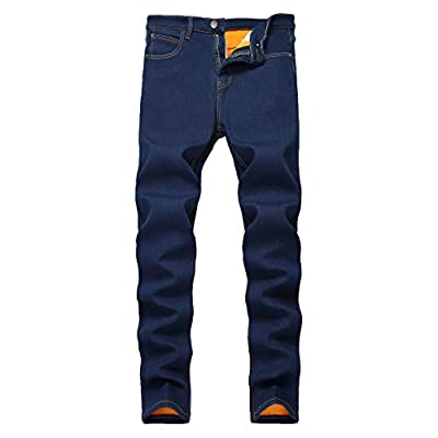 COLINNA Men's Fleece Lined Jeans Winter Thicken Stretch Jeans Skinny Denim Pants Casual Trousers
