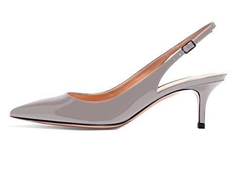VOCOSI Women Fashion Kitten Heels Pointed Closed Toe Slingbacks Patent Dress Pumps Size 3-11 UK Grey