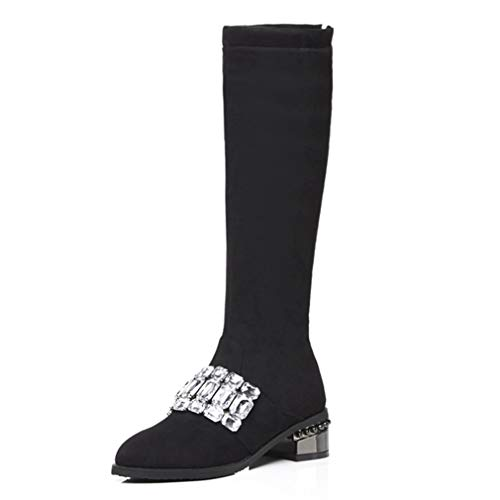 GIY Women's Knee High Flat Heel Boots Rhinestone Side Zip Round Toe Cushioned Lining Mid-Calf Tall Western Riding Boots ()