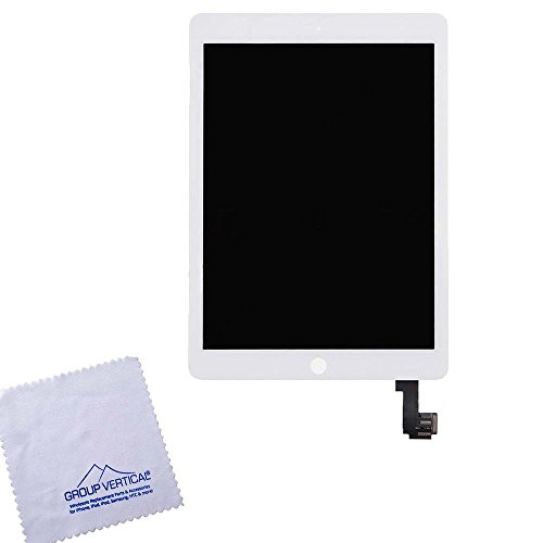 Lot of 2 Touch Screen Digitizer + LCD Display For Apple iPad Air 2 A1566 A1567 - White - Sleep/Wake Sensor flex cable included - by Group Vertical by Group Vertical