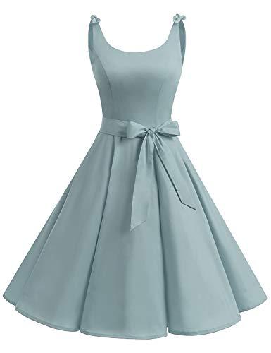 Retro Vintage Fashion (Bbonlinedress 1950's Bowknot Vintage Retro Polka Dot Rockabilly Swing Dress Grey M)