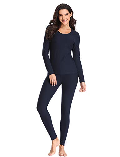 LALAVAVA Lusofie Womens Long Johns Cotton Thermal Underwear Set Winter Pajamas Set (Navy Blue, L)