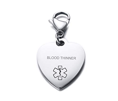 (VNOX Blood THINNER Medical Alert Symbol Stainless Steel Heart Shape ID Tag Keychain,Charm for Bracelet Handmade Jewelry)