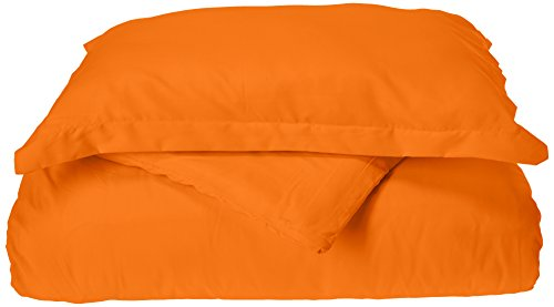 Elegance Linen 1500 Thread Count Wrinkle Resistant Ultra Soft Luxurious Egyptian Quality 3-Piece Duvet Cover Set, Full/Queen, Elite Orange