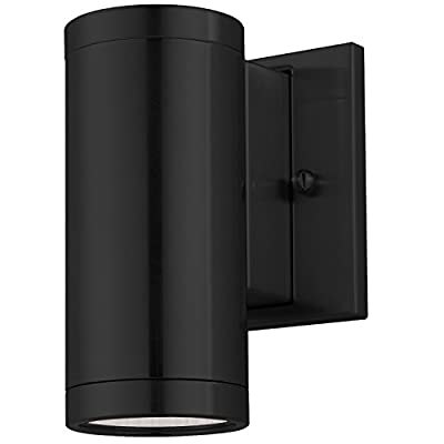 """LB75220 6"""" LED Outdoor Wall Fixture, 8-Watt Outdoor LED Sconce, Black Cylinder Fixture, 5000K Daylight, 560 Lumens, ETL and Energy Star certified"""
