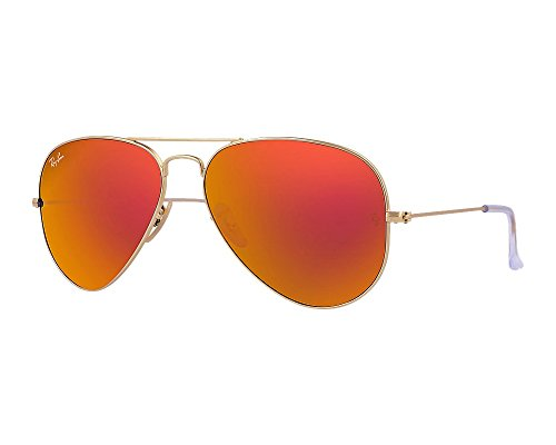 Ray Ban RB3025 Large Aviator Sunglasses - 112/69 Gold (Orange Flash Lens) - - Ladies Ray Ban Uk Sunglasses