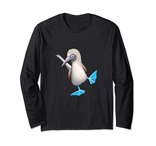 Blue Footed Booby Drawing | Funky Dancing Tropical Bird Long Sleeve T-Shirt