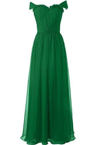 ivyd ressing Mujer Modern a de línea A Partir de la Fiesta de los hombros vestido largo Prom vestido para vestido de noche Verde
