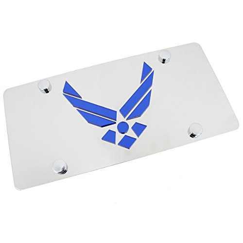 Laser-Cut US Air Force Logo On Polished License Plate