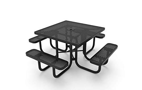 Coated Outdoor Furniture TSQ-P-BLK Square Portable Picnic Table, 46″, Black