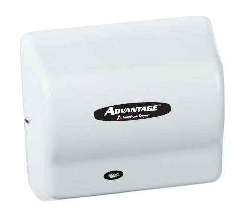 American Dryer AD90-M Advantage Steel Standard Automatic Hand Dryer, White Epoxy Finish, 1/8 HP Motor, 100-240V, 5-5/8'' Length x 10-1/8'' Width x 9-3/8'' Height by American Dryer