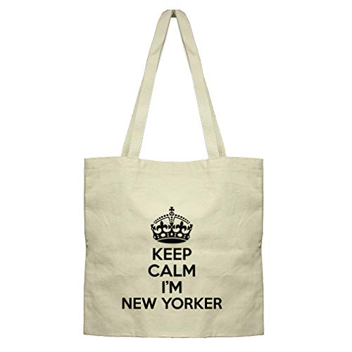 (Keep Calm, I'M New Yorker New York Cotton Canvas Flat Market Tote Bag)