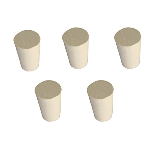 Homyl Laboratory Solid Rubber Plug Stopper Bungs Flask Tapered Test Tube Plugs White (Pack of 5pcs) 000#-10# - 00 15 x 11x20mm