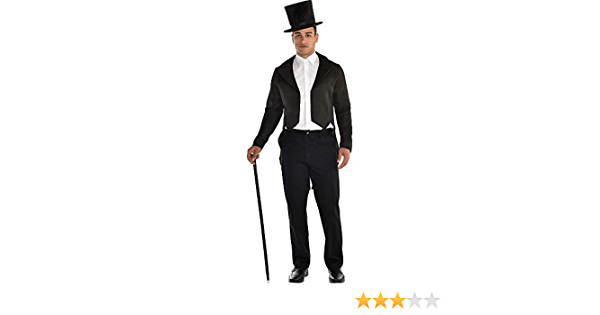 Mens Blk Lined Tailcoat Costume Medium For Hardy Hollywood Film Fancy Dress