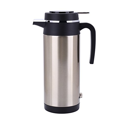 Portable 1200ml 24V Travel Car Truck Electric Kettle Water Heater Fast Boiling with Cigarette Lighter Socket, Fuse for Tea Coffee Drinking
