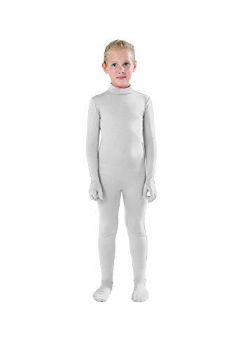 Full Bodysuit Kids Dancewear Solid Color Lycra Spandex Zentai Child Unitard (Small, White) -
