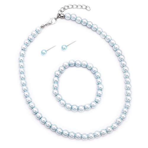 Rosemarie Collections Girl's 6mm Glass Bead Simulated Pearl 3 Piece Necklace Bracelet Earrings Flower Girl Bridal Jewelry Set (Light Blue)