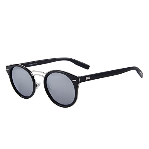 polarizado Oval Retro C05 Bridge hombre Negro de tonos TIANLIANG04 sol Silver C01 gafas Double Classic mujer 6zqaYPT