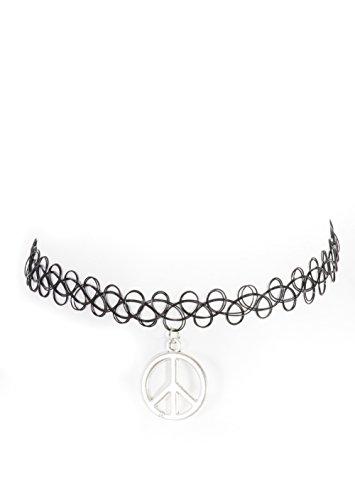 Peace Signs Necklace Silver Tone Black Tattoo Choker Anti War Pendant NU06 Fashion Jewelry