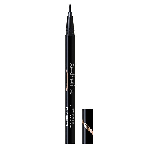 Aesthetica Felt Tip Liquid Eyeliner Pen – Fast-drying Waterproof & Smudge Proof Formula –Vegan and Cruelty Free (Dark Brown) (Eyeliner Estee Liquid)