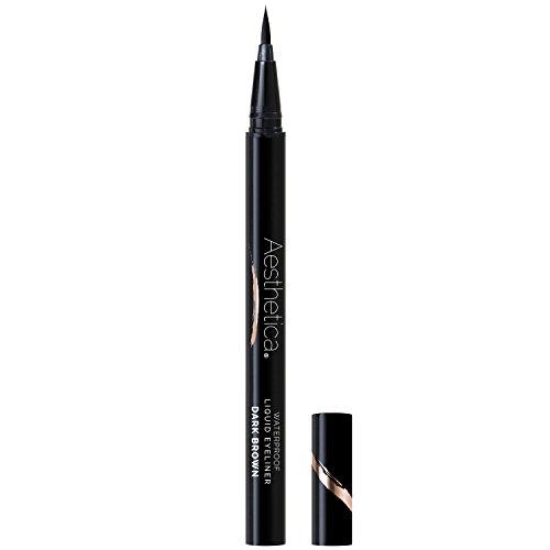 Aesthetica Felt Tip Liquid Eyeliner Pen – Fast-drying Waterproof & Smudge Proof Formula –Vegan and Cruelty Free (Dark Brown) (Eyeliner Liquid Estee)