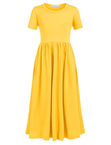 Balasha Girls Short Sleeve Dress Summer Long Maxi Dress with Pockets, C Yellow, 7-8 Years ()