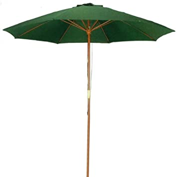 Amazing 9 Ft Hunter Green Patio Umbrella   Outdoor Wood Market Umbrella Product  SKU: UB50021