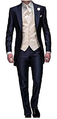 Men's Navy Blue Groom Tuxedos 3 Pieces Tailcoat Wedding Suits Long Men Suit Blue 52 Chest / 46 Waist