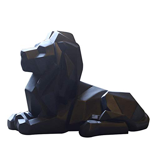 Wansan Lion Statue Geometric Resin Statue King of Beasts Sculpture Black
