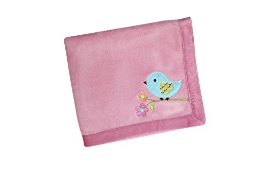 NoJo Love Birds Crib Bedding Set, Coral Fleece Blanket