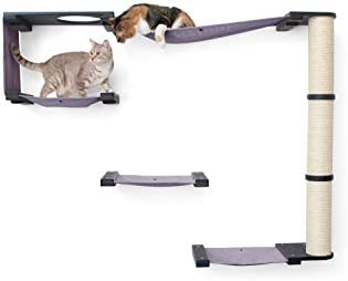 CatastrophiCreations Cat Mod Climb Track Handcrafted Wall Mounted Cat Tree Shelves, Onyx Black, One Size