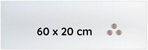 Lüllmann Memoboard Glas Magnettafel 60x20x0,4cm Glastafel Glasboard Whiteboard Wandtafel Magnet-Board (607400 Glastafel 60x20x0,4cm, weiß Milchglasoptik)