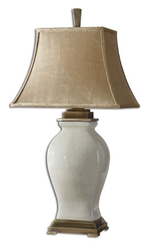 Aged Ivory Glaze / Coffee Bronze Porcelain Table Lamp From The Rory Ivory ()