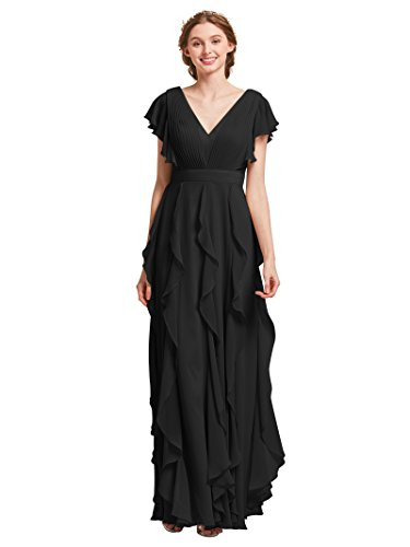 AW Bridal Long Bridesmaid Dresses for Women Formal Dresses with Sleeves Chiffon Gowns and Evening Dresses, Black, US8