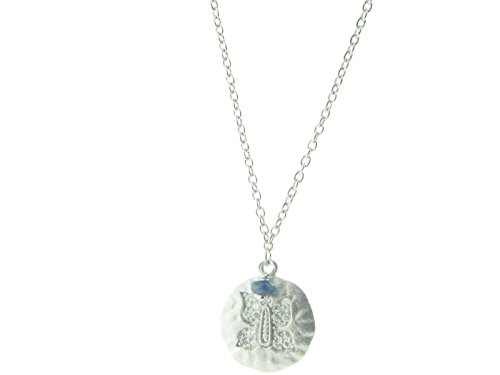 Fronay Collection Embossed Cubic Zirconia Butterfly Hammered Disc Pendant Necklace in Sterling Silver, 16