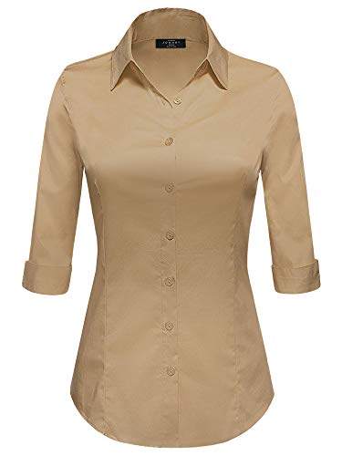 Made By Johnny MBJ WT1947 Womens 3/4 Sleeve Tailored Button Down Shirts XL New_Khaki