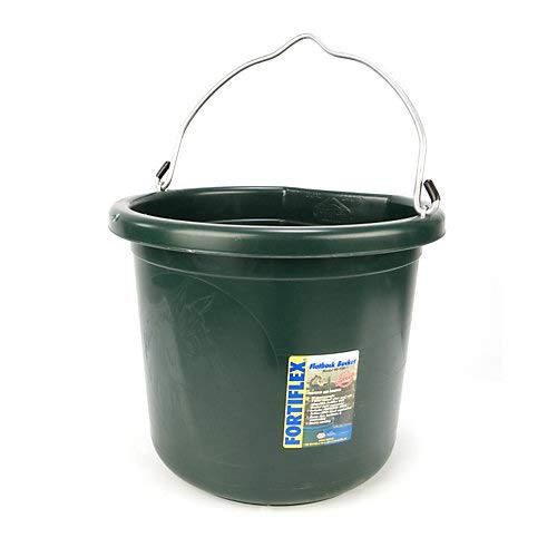 Fortiflex Flat Back Feed Bucket for Dogs/Cats and Small Animals, 24-Quart, Green by Fortiflex