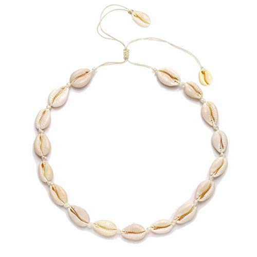 - CEALXHENY Shell Choker Necklaces Bohemia Cowrie Shell Necklaces Beaded Seashell Necklaces Summer Beach Jewelry for Women (B White Shell)