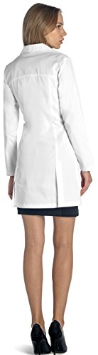 Dr. James Women's Lab Coat, Tailored Fit, Feminine Design, White, 33 Inch Length