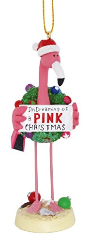 (Cape Shore Pink Flamingo in Santa Hat Dreaming of a Pink Christmas Holiday Ornament)