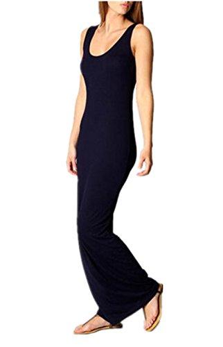 Maxi Fit Senza Puro Slim Dark Moda Canotta Colore Spiaggia Aivosen Popolare Blue Semplice Dress Da Abito Donna Estate Vestito Maniche Abito qxIq17OTw