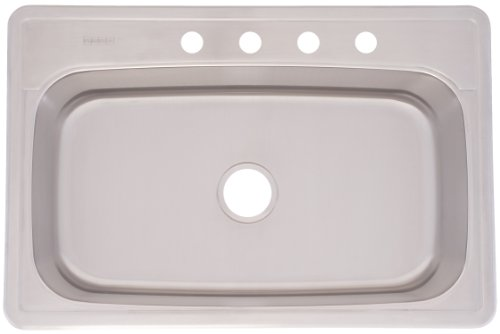 Kindred FSLG804BX Large Single Bowl Stainless Steel 33x22in. Topmount Sink
