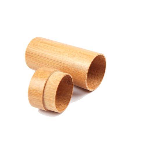 ENCOCO - Funda para anteojos de sol, madera de bambú, carcasa rígida para anteojos, funda redonda para hombres y mujeres