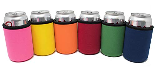 TahoeBay Premium Can Sleeves - 5mm Thick Neoprene Beer Coolies for Cans - Blank Drink Coolers (Multicolor, 6) - Neoprene Can Cooler